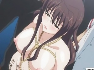 Tied up hentai babe gets her ass toyed