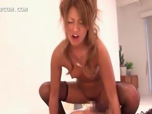 Horny asian slut in fishnets getting her ass slapped by gigantic balls