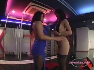 2 Asian Strippers Patting Sucking Nipples On The Stage In The Nightclub