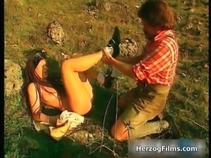 Sexy brunette seventies babe goes crazy