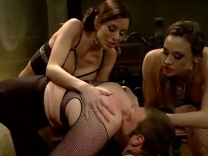 Three dominant females play with their slave