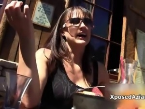 Hot brunette milf goes crazy showing off