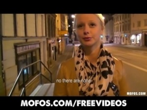 Cute blonde Czech student is paid for sex in public free