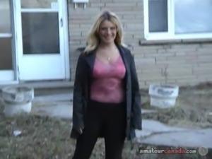 Chubby wife flashes huge boobs in her backyard free