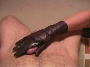 Leather glove handjob free video clips