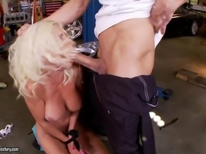 Milfy blonde Puma Swede with monster boobs is gorgeous. Guy