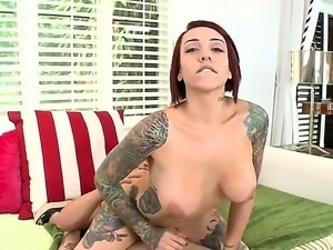 Super hot tattooed redhead slut Mila Treasure with great, big and round boobs...
