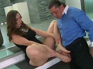 Hungry stud is licking on gorgeous Paige Turnahs sexy feet before she gives...