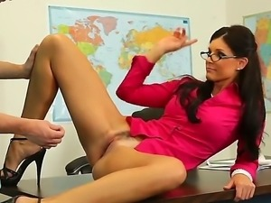 Crazy teacher India Summer spreads her sexy legs and gets my big and sweet dick