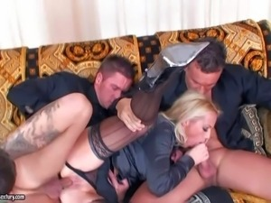 Smoking hot business blonde with delicious ass and great hunger