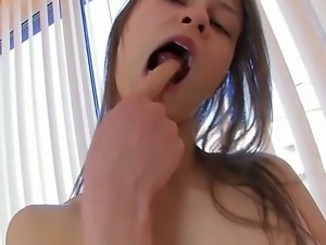 Skinny schoolgirl Beata plays with her own bodys treasures while her parents...