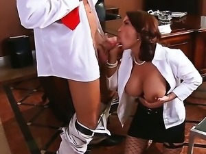 Bill Bailey enjoys having hot Diamond Foxxx kneeling and deep sucking his...