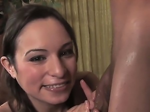 Skinny Amber Rayne enjoys rubbing and sucking on a huge cock in real hardcore