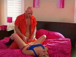 Sexy girlfriend Dani Daniels welcomes her boyfriend Johnny Sins from fail...