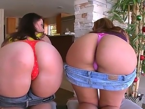 Two girls with nice big asses Alex Casio and sexy Nikki Skye showing their...
