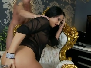 Stunning small titted brunette Bettina Dicapri dressed in black gets