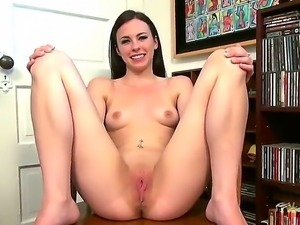 Young Veronica Radke willingly takes off her clothes and spreads her legs to...