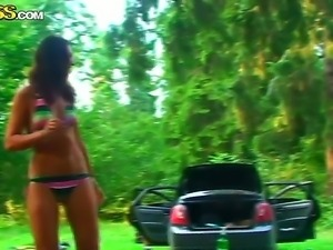 Exquisite Olympia and Roxi are having raunchy group orgy session in the woods