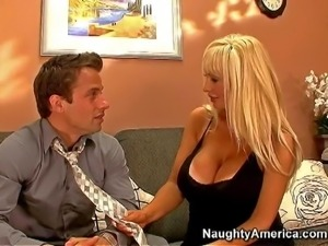 Blonde milf with big tits Brittany O Neil enjoys in