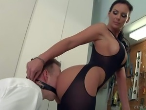 Phoenix Marie in tight crotchless body suit has perfect body.