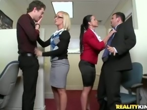 Good looking office milfs Nicole Aniston and Jewels Jade put