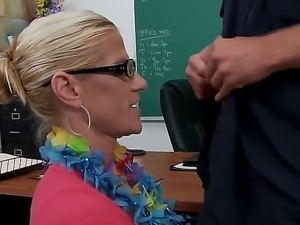 Horny teacher Amber Irons enjoys having hunk Scott Stone to pound her mature...