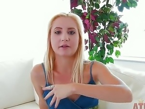 Blonde babe Odette Delacroix gets nasty while attending to porn casting