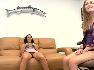 Two playful brunette and blonde whores Amber and Rachel Starr undress and...