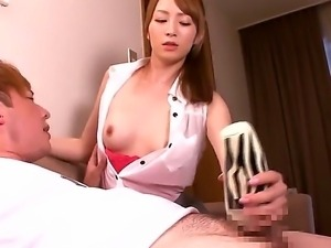 Horny stud enjoys asian chick Miku Ohashi playing and deep sucking his hard dick