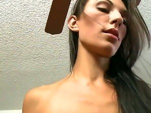 Skinny brunette Vivian Versace  enjoys having her shaved pussy pounded hard...