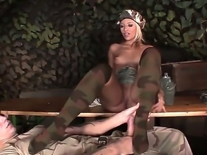 Horny officer Candy seduces young rookie and presents him unforgettable footjob