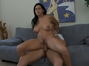Brunette with huge tits Rayleneenjoys blowing and fucking with Danny Mountain
