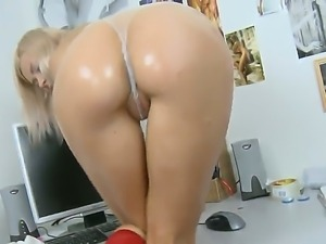 Blonde hottie with huge tits Crystal is having one nasty solo session