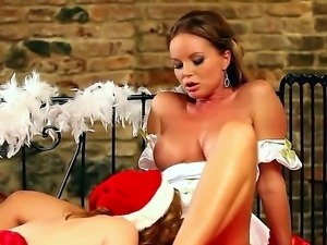 Sweet lesbians Silvia Saint and Tara White are having a christmas softcore...