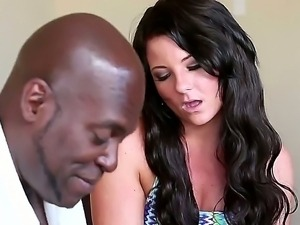 Petite arousing babe Casey Cumz with milky skin and dirty black hunk Lex...