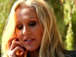 Three attractive lesbians Celeste Star, Julia Ann and Karlie Montana talk on...