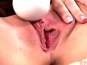 Horny babe Adriana Chechik sucks a dick and vibrates her clit at the same...
