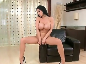 Passionate brunette bitch Aletta Ocean rubs her big tits and masturbates