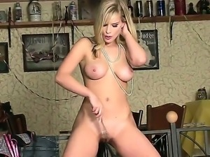 All natural blonde with awesome slender body Marry Queen is a queen of solo...