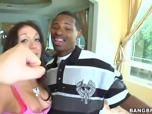 Giggling brave brunette girl Amy Brooke takes enormous black dick
