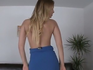 Sultry blonde Aleska Diamond posing and sucking dick deep in her throat