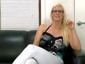 Sexy blonde milf in hot glasses Kaylee Brookshire wants to show us her...