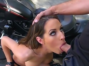 Keiran Lee caught on the street by stunning and smoking hot biker lady...