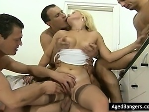 Young horny blond with four guys.