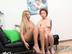 Hardcore anal fisting between blondies
