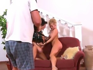 Hot blonde girl Silvia Saint is passionately fondling her lesbian brunette...