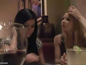 Arousing pornstar babes Sandy and Jessica Moore enjoy in having some free...