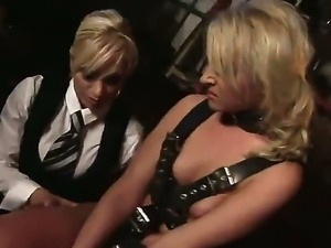 Sensational lesbian babes have a good time as they fuck each other while tied...