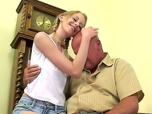 Fair skinned, skinny girl Jenni enjoys to fuck with her elderly neighbor...