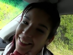 Young hot teen Alexis Perez gives dirty blowjob in the car to hunk Jmac